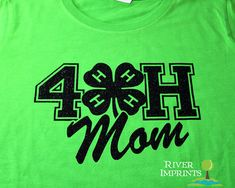4H MOM Tshirt sparkly 4H glitter shirt fitted by RiverImprints, $19.00