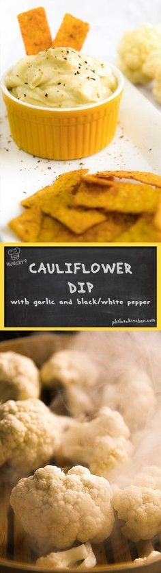 roasted cauliflower dip - Today I propose a healthy, tasty, and very versatile cauliflower dip. It's delicious with croutons and chips, and perfect to seasoning pasta or aside grilled meat! The ingredients are few and very simple; It will be a success! - sauce christmas fall winter recipe party chips vegetarian