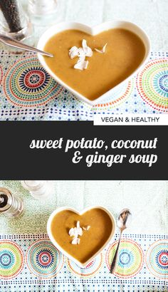 Hot comforting and healthy with coconutty sweetness and a touch of zing ginger: that's this easy vegan Sweet Potato Coconut Ginger Soup recipe. Sweet Potato Soup, Sweet Potato Recipes, Sweet Soup, Healthy Comfort Food, Healthy Cooking, Healthy Soups, Vegan Recipes Easy, Soup Recipes, Detox Recipes