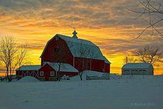 Winter Barn At Sunset