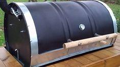 How to build a barrel bbq diy plans included based on the argentinian parrilla de tambor Bbq Pit Smoker, Bbq Grill, Grilling, Barrel Fire Pit, Barrel Bbq, Door Reinforcement, Restaurant Kitchen Design, Barrel Furniture, Oil Drum