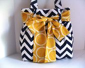 Handbag Made of Blue and White Chevron  Fabric and Large Yellow Bow