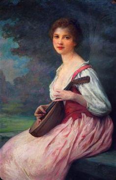 La mandoline -- Charles Amable Lenoir [1860--1926, French]