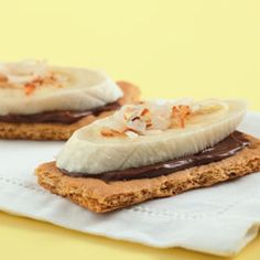 Quick Chocolate-banana Grams    Spread each graham cracker piece with 1/4 teaspoon Nutella and top with a slice of banana and a sprinkling of coconut.