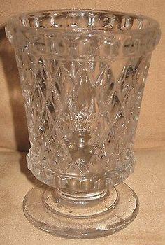1840 1850's EAPG Flint Glass Boston Sandwich Glass Quilted Diamond Spill Holder | eBay