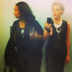 Julia Frändfors and Agnes Lo Åkerlind at the Swedish Grammy awards looking blurry but stunning in Anna Tascha's necklaces.
