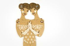 Siamese twins circus freaks articulated paper doll sisters paper puppet unique and unusual gift birthday present kraft paper decoration