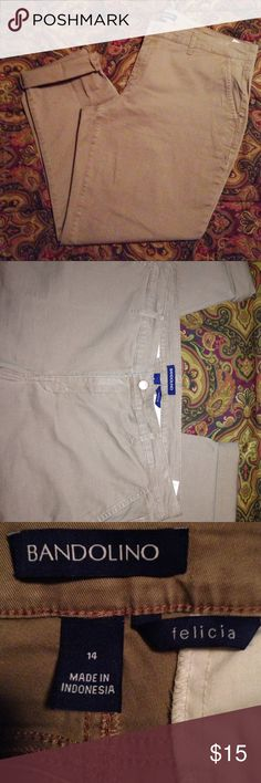 "Ankle Pants By Bandolino (Felicia) Plus Size These pants are NWOT. they still have the size sticker on them. They do have stretch. They measure 19 1/2"" side to side at top of waist And inseam is 30"" when not rolled up at the bottom. Bandolino Pants Ankle & Cropped"