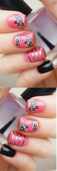 Black floral nail decals/ Floral nail stickers/ Nail art supplies/ Floral nail decals/ Nail decorations/ Rose nail decals/ #naildesigns #ad #nailart