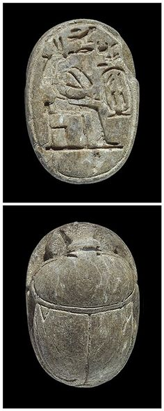 EGYPTIAN STEATITE SCARAB OF QUEEN TIYE -  18th Dynasty, 1398-1338 BC. |   A large stone scarab, on the base a seated figure of a queen, right, with cartouche in front of Queen Tiye, wife of Amenophis III (grandfather of Tutankhamun).