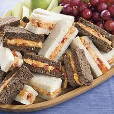 5 Dainty Finger Sandwiches ----- Hosting a spring baby shower, afternoon tea, or ladies' luncheon? Serve some of these five delicious finger sandwiches for a festive and filling celebration. Mini Sandwiches, Pimento Cheese Sandwiches, Pimiento Cheese, Cheese Sandwich Recipes, Finger Sandwiches, Appetizer Recipes, Cucumber Sandwiches, Tailgating Recipes, Tailgate Food