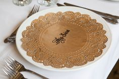 Wedding Lace Doily Place Card. Gold White Event Name Card. Escort Card Large Round Paper Doilies. Wedding Table Setting Decorations. by FoxAndRobinDesign on Etsy