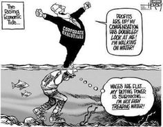 Excellent illustration of US economic inequality. Unless we elect Bernie Sanders it will just get worse- every other candidate is a Neoliberal or a fascist. Donald Trump, Treading Water, Thing 1, Mood, Political Cartoons, Greed, Thought Provoking, Memes, Shit Happens