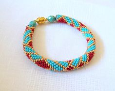 SALE - Beadwork - Beaded Crochet Bracelet - Abstract Bangle - Round Chunky Bangle - Geometric Design Bracelet - red, turquoise and gold