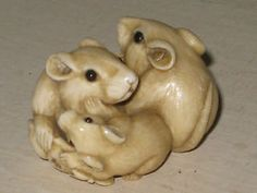 Japanese Netsuke | Antique Japanese Carved Netsuke Three Rats Signed Ikko | eBay