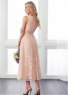 bc831c9ca4e55 Magbridal Decent Lace Bateau Neckline Tea-length A-line Bridesmaid Dresses