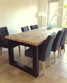 Rustic Dining Room Table And Chair Sets Rustic Dining Room Sets, Table Decor Living Room, Farmhouse Dining Room Table, Solid Wood Dining Table, Dinning Table, Dining Room Design, Welded Furniture, Home Furniture, Furniture Design