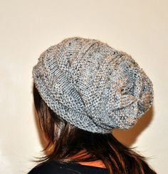 Slouch Beanie Slouchy Hat PDF PATTERN DIY Hand Knit Winter Adult Teen Gray Marble Grey Nature Forest Earth Neutral Chunky. $4.99, via Etsy.