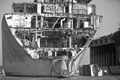 Cross-section of Chittagong 14-X2 ship during ship breaking