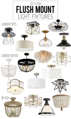 A gorgeous collection of stylish flush mount light fixtures. The collection focuses on scallop, star, bead, and industrial pieces. #lighting #lightfixtures