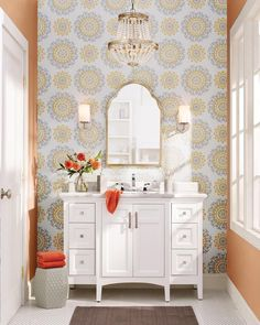 Get inspired by Modern Bathroom Design photo by Wayfair Catalog. Wayfair lets you find the designer products in the photo and get ideas from thousands of other Modern Bathroom Design photos. Narrow Bathroom, Single Bathroom Vanity, Wallpaper Roll, Peel And Stick Wallpaper, Interior S, Interior Design, Empire Chandelier, Modern Bathroom Design, Bath Design