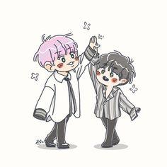 Chanbaek Fanart, Loli Kawaii, Exo Fan Art, Exo Xiumin, Flower Boys, Cutest Thing Ever, Cute Chibi, Character Drawing, Kpop