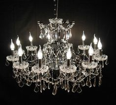 Large French Vintage Antique Style 12 Branch Crystal Cut Glass Chandelier