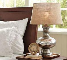 mercury glass lamp with burlap shade