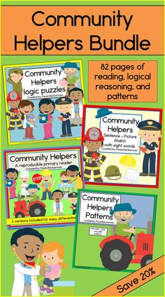 Community Helpers Bundle includes 4 themed activities, all in one easy to use bundle! Students will practice reading, patterning and logic with 82 pages of learning! TpT $