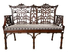 "An exquisite Chippendale settee —  another fine example of the ""Chinese"" in 18th century style and taste."