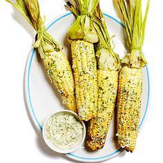 Grilled Corn on the Cob with Cilantro Queso Fresco Butter Recipe | MyRecipes.com