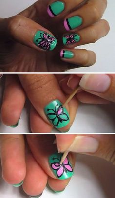 Green and pink themed butterflies nail art design. The nails are painted with green as the base color and tipped with pink polish. Additional black lines are added for the French tips. A wonderful pink butterfly is then painted in top with black and white details.
