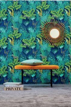 from Pierre Frey Jungle collection papier peint Tropical Wallpaper, Modern Wallpaper, Designer Wallpaper, Wallpaper Jungle, Summer Wallpaper, Tropical Interior, Inspirational Wallpapers, Tropical Style, Blog Deco