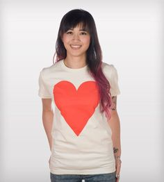 Heart T-Shirt by Fluffy Co. on Scoutmob Shoppe. Huge red heart screenprinted on a 100% cotton soft natural tee.
