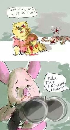The walking dead ...Winnie the pooh and piglet too style