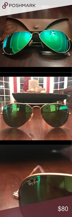 Ray-ban Green and Blue Aviator Sunglasses Great condition!!!! Only worn a few times Green/blue RAYBAN aviator sunglasses with gold rims Ray-Ban Accessories Sunglasses