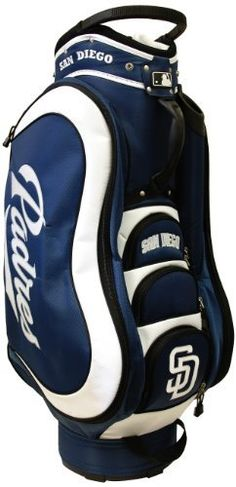 MLB San Diego Padres Medalist Cart Bag, Navy by Team Golf. $149.99. 8 location embroidery and 5 zippered pockets. Padded strap with strap pouch and fleece-lined valuables pouch. Removable rain hood and umbrella holder and towel ring. Integrated top handle and 14-way full length dividers. 50% nylon/50% plastic. External putter well and 3 lift assist handles. This bag is loaded with features, including integrated top handle, 14-way full length dividers, 8 location embroidery, ...