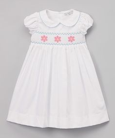 Loving this White & Pink Peter Pan Collar Smocked Dress - Infant & Toddler on #zulily! #zulilyfinds