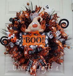 Halloween Wreath, Halloween Mesh Wreath,Ghost Wreath,BOO Halloween…