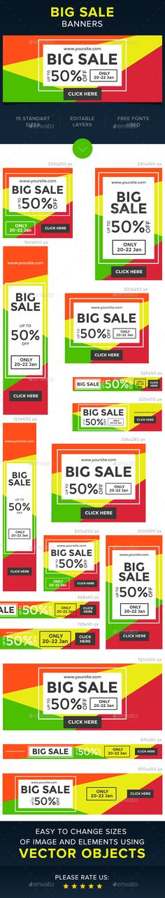 Big Sale Web Banners Template PSD #ads #promote Download: http://graphicriver.net/item/big-sale-banners/14419119?ref=ksioks