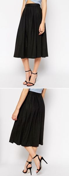 This pleated midi linen skirt will look cute with a black & white striped shirt and leather jacket