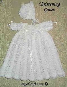 Free Crochet Baby Christening Gown Pattern by Crochet Baby Dress Pattern, Baby Dress Patterns, Gown Pattern, Baby Girl Crochet, Crochet Baby Clothes, Crochet For Kids, Knit Crochet, Crochet Christening Patterns, Crochet Dresses