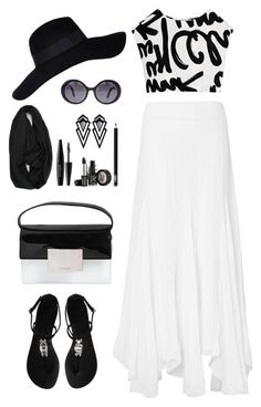 """""""Black & White Summer Style"""" by rusinn ❤ liked on Polyvore featuring Phase Eight, Giuseppe Zanotti, Yves Saint Laurent, River Island, Chanel, MAKE UP FOR EVER and NARS Cosmetics"""