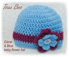 Football Team Baby Hat Baby Girl Flower Hat Claret & Blue | Etsy Baby Flower, Flower Hats, Crochet Round, Crochet Hats, Crochet Ideas, Baby Girl Hats, Girl With Hat, Dr Brown Bottles, Button Flowers