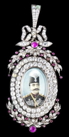 A paste-set silver Insignia of the Qajar Order of the Imperial Effigy depicting Nasr al-Din Shah Qajar (r. 1848-96) Europe, circa 1870