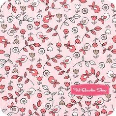 It's A Girl Thing Bloom Sweet Tweet Yardage  SKU# CX5191-BLOM-D   It's a Girl Thing by Michael Miller Fabrics