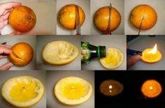 Hacer velas con cáscaras de naranjas paso a paso.