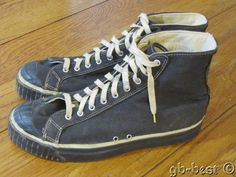 Made in USA. Size marked on bottom outsole is Canvas lined. Basketball Uniforms, Basketball Sneakers, Basketball Camps, Black Keds, High Top Sneakers, Basketball Information, Keds Shoes, Antique Clothing, Vintage Tags