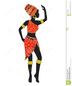 african woman silhouette | Silhouette of dancing African woman in a scarf and a loincloth.