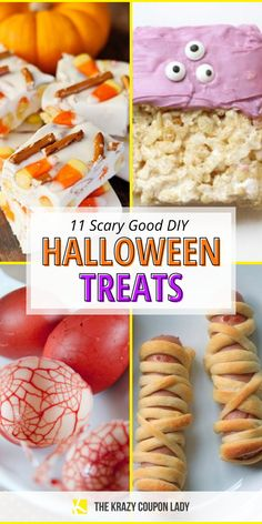 Looking for scary Halloween treat ideas or fun DIY Halloween candy to make with kids that's super easy? How about the perfect Halloween party food ideas? These simple Halloween desserts, snacks, and Halloween food ideas are a festive way to bring Halloween spirit to any day, for kids and adults alike. Make candy corn fudge, mummy hot dogs, Voodoo doll cookies, not-so-spooky jack-o-lantern pumpkin sandwiches, monster rice krispie treats, and more! Scary Halloween Treats, Halloween Desserts, Halloween Food For Party, Halloween Candy, Spirit Halloween, Easy Halloween, Rice Krispie Treats, Rice Krispies, White Chocolate Candy
